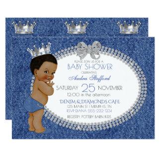 Afrikansk amerikanpojkeDenim & diamanter 12,7 X 17,8 Cm Inbjudningskort