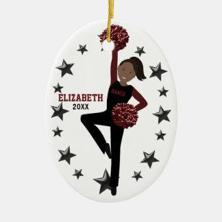 Afrikansk amerikanPom Squad i svart & rödbrunt Julgransprydnad Keramik