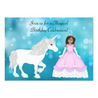 Afrikansk amerikanPrincess Unicorn Födelsedag 12,7 X 17,8 Cm Inbjudningskort