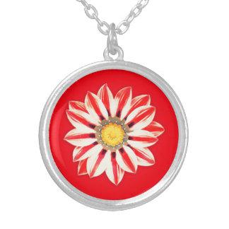 Afrikansk daisy/röd och vit Gazania - görade Silverpläterat Halsband