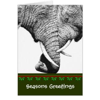 Afrikansk elefantjulkort hälsningskort