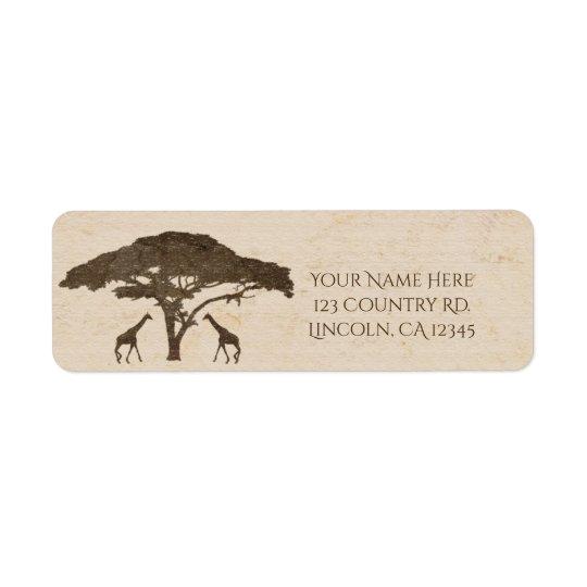 Afrikansk giraffvintage bröllop för Safari två Returadress Etikett