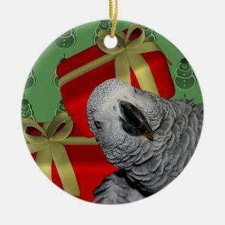 Afrikansk grå färgpapegojajul julgransprydnad keramik