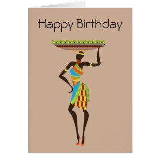Afrikansk stam- dam med stam- födelsedag för hälsningskort
