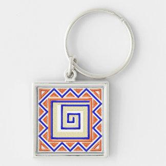 Afrikansk stil Keychain Fyrkantig Silverfärgad Nyckelring