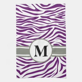 Afrikansk violett Safarisebra med monogramen Kökshandduk