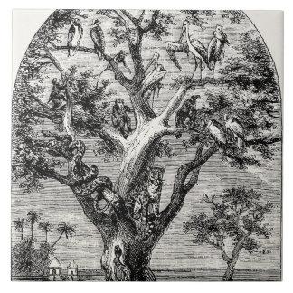 Afrikanska djur för vintage i träd efter flod1800s kakelplatta