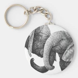 Afrikanska elefanter Keychain Rund Nyckelring