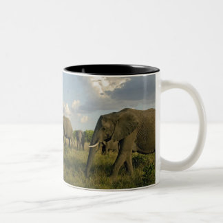Afrikanska elefanter som betar, Loxodontaafricana, Två-Tonad Mugg