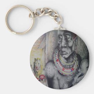 Afrikanskt folk Hakuna lejona Matata & Masai Keych Rund Nyckelring