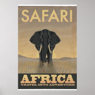 AfrikaSafarielefanten reser affischen Poster