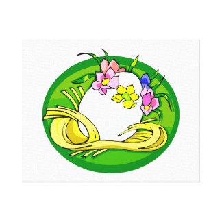 ägg med blommatiaragrönt oval.png canvastryck