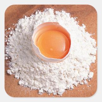 Ägg- och vetemjöl fyrkantigt klistermärke