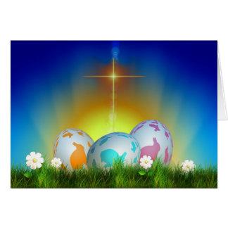 Ägg, soluppgång och arg påsk hälsningskort
