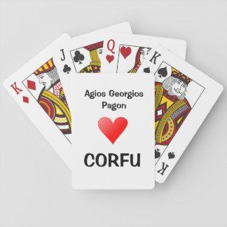 Agios Georgios som leker kort Spel Kort