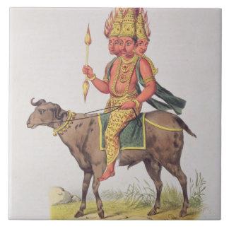 Agni gud av Fire som inristas av den Charles Etien Kakelplatta