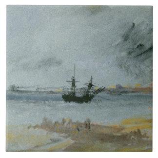 Aground frakt, Brighton, 1830 (svart bläck, w/c &  Kakelplatta