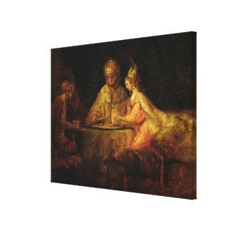 Ahasuerus, Haman och Esther, c.1660 Canvastryck