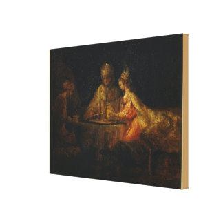 Ahasuerus och Haman på festmåltiden av Esther Canvastryck