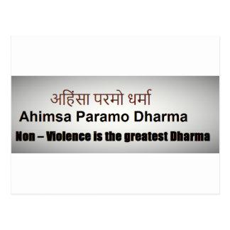 Ahimsa Paramo Dharma, AHINSA, SANSKRIT MANTRA Vykort