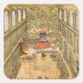 Åhörarekapell på Vaticanen (färggravyr) Fyrkantigt Klistermärke