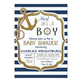 Ahoy är det för temababy för pojke en nautisk 12,7 x 17,8 cm inbjudningskort
