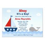 Ahoy dess en pojkebaby showerinbjudan 12,7 x 17,8 cm inbjudningskort