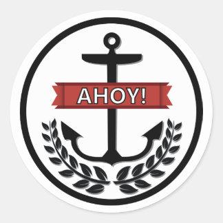 Ahoy - klassikerrundaklistermärke som är glansig runt klistermärke