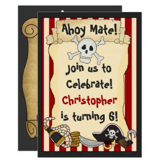 Ahoy kompis! Piratpojkefödelsedagsfest inbjudan