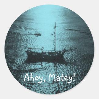 Ahoy Matey kuvertsälarblått Runt Klistermärke