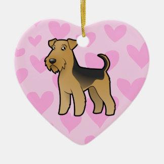 AiredaleTerrier/walesisk Terrierkärlek Julgransprydnad Keramik