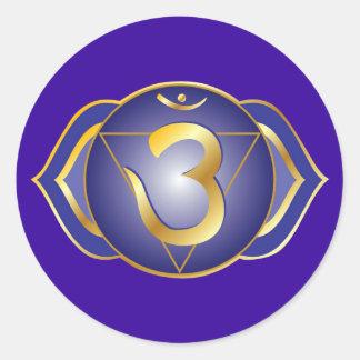 ajna eller tredje ögachakraklistermärke runt klistermärke