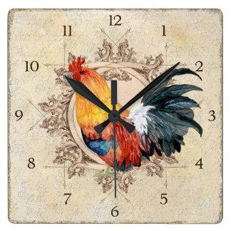 AJR-PAPER-Black-Vintage-Rooster-1b.jpg Fyrkantig Klocka