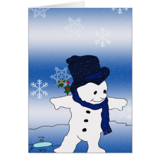 Åka skridskor för snögubbe hälsningskort