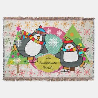 Åka skridskor pingvin- och snöflingorhelgdagkast mysfilt
