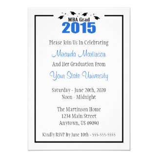 Akademiker studenteninbjudan 2015 för MBA 12,7 X 17,8 Cm Inbjudningskort