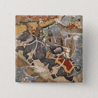 Akbar tämjer den vilda elefanten, Hawa'i Standard Kanpp Fyrkantig 5.1 Cm