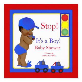 Åker lastbil röd gult för pojkebaby showerblått fyrkantigt 13,3 cm inbjudningskort