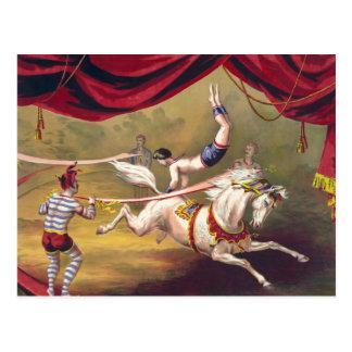 Akrobat för cirkusaffischvisning som utför på häst vykort