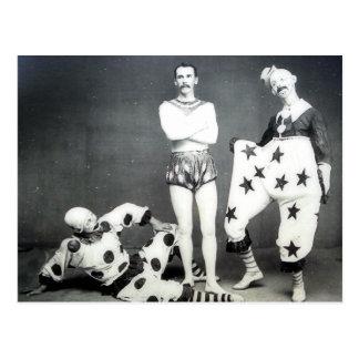 Akrobat- och clownvykort vykort