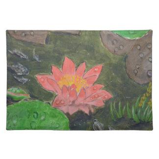 Akryl på kanfas, rosa näckros och gröntlöv bordstablett