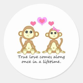 Äkta kärlek gulliga apor - kommer Along en gång i… Runt Klistermärke