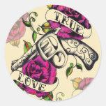 Äkta kärlek klistermärkear för tatueringkonststil runt klistermärke