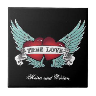 Äkta kärlek Rockabilly bevingad hjärta Liten Kakelplatta