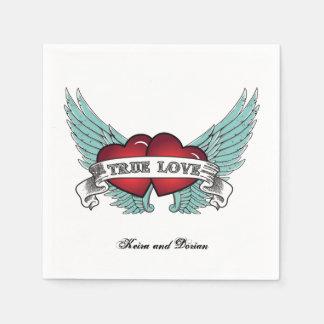 Äkta kärlek Rockabilly bevingad hjärta Servett