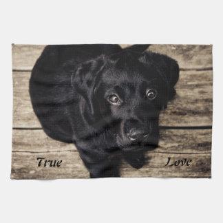 Äkta kärlek svart kökshandduk för Labrador