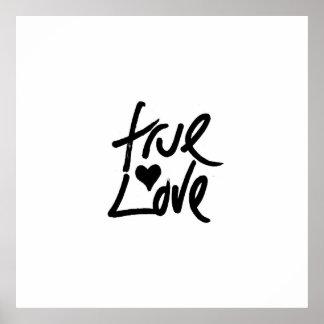 """""""Äkta kärlek"""" typografi och målad hjärta Poster"""