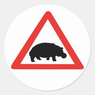 Akta sig av flodhästar, trafikera, Sydafrika Runt Klistermärke