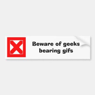 Akta sig av geeks uthärda gifs (D) Bildekal