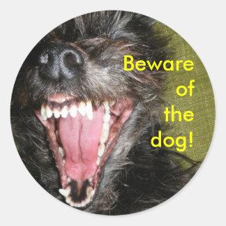 Akta sig av hunden runt klistermärke